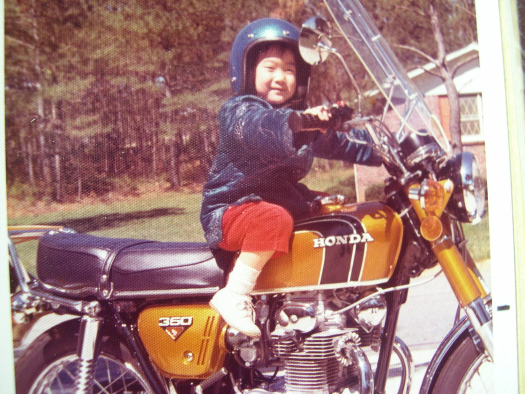 natalie on motocycle, christmas baby, holiday birthday, growing up southern and asian