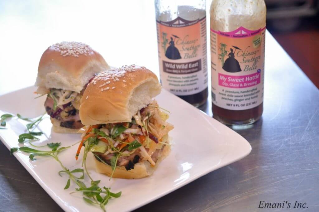 asian barbecue sliders with sweet and sour slaw