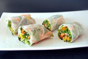 Healthy, quick, easy spring rolls recipe. Spring rolls are a popular Chinese food perfect for spring and summer picnics. Enjoy meatless, vegetable spring rolls with the Chinese Southern Belle!